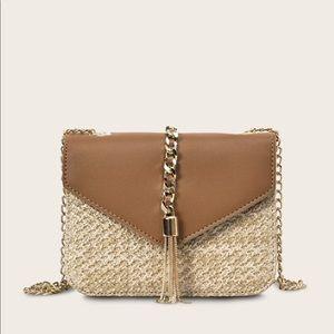 Handbags - Tassel Gold Chain Brown Braided Crossbody Bag